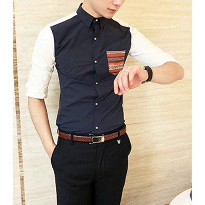 Гаджет   Casual Style Turn-down Collar Pocket Embellished Half Sleeves Cotton Shirt For Men Shirts
