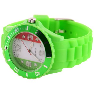 Fashion 2014 FIFA World Cup Italy National Flag Men Wrist Watch Analog Display with Round Dial Jelly Watch Band