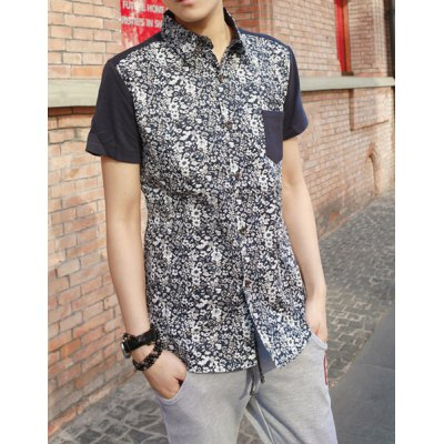 Гаджет   Summer Style Turn-down Collar Floral Print Short Sleeves Cotton Shirt For Men Shirts