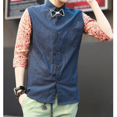 Гаджет   Korean Style Turn-down Collar Splicing Floral Print Half Sleeves Polyester Shirt For Men Shirts