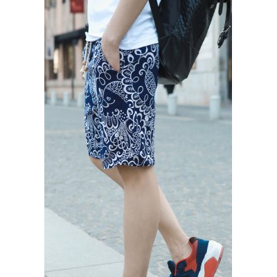 Fashionable Style Loose-Fitting Casual Floral Print Linen Shorts For Men