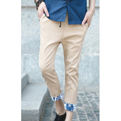 Fashionable Style Slimming Purfled Cotton Cropped Pants For Men