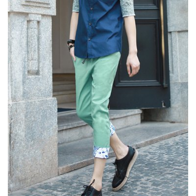 Гаджет   Fashionable Style Slimming Purfled Cotton Cropped Pants For Men Pants