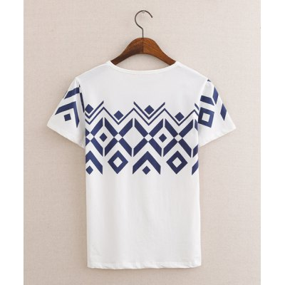 Casual Style Round Neck Slimming Geometric Print Short Sleeves Polyester T-shirt For Men