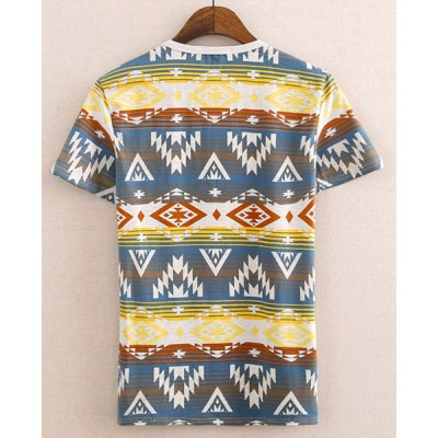Stylish Round Neck Colorful Geometric Print Short Sleeves Cotton T-shirt For Men