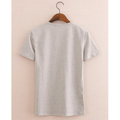 Stylish Round Neck Floral Print Letter Pattern Short Sleeves Cotton T-shirt For Men