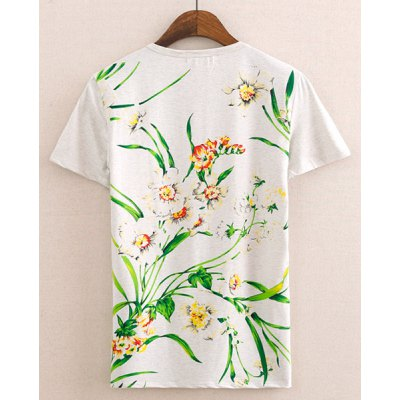 Stylish Round Neck Refeshing Floral Print Short Sleeves Cotton T-shirt For Men