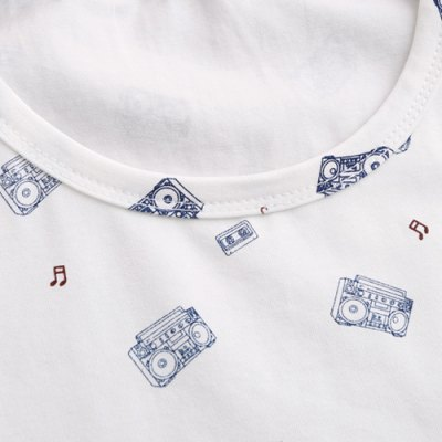 Stylish Round Neck Tapes Print Short Sleeves Cotton T-shirt For Men