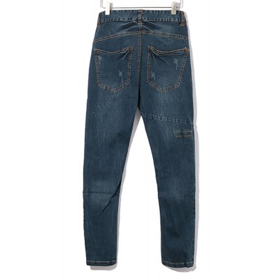 Гаджет   Vintage Bleach Wash Stereo Clipping Button Fly Skinny Jeans For Men Pants