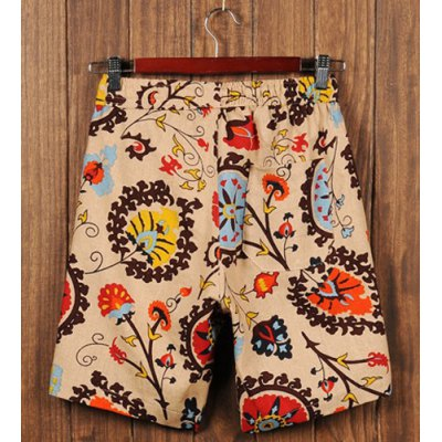 Loose Fit Trendy Lace-Up Ethnic Pattern Print Straight Leg Cotton+Linen Shorts For Men