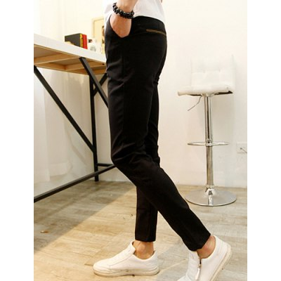 Гаджет   Stylish Zipper Fly Golden Embroidery Cotton Nine Minutes Pants For Men Pants