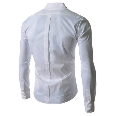 Stylish Shirt Collar Slimming Solid Color Oblique Button Long Sleeve Men's Polyester Shirt
