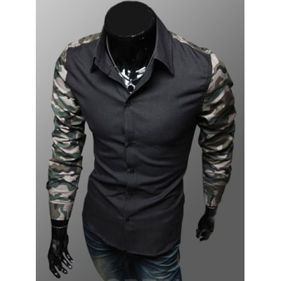 ФОТО Stylish Shirt Collar Slimming Color Block Camo Splicing Long Sleeve Men