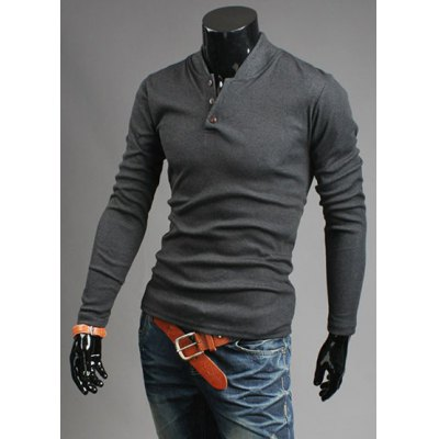 Stylish Stand Collar Slimming Button Design Long Sleeve Men's Polyester Sweatshirt