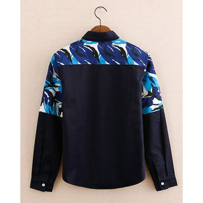 Гаджет   Casual Style Turn-down Collar Splicing Print Long Sleeves Cotton Shirt For Men Shirts