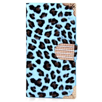 Leopard Style Plastic and PU Leather Case with Card Holder for Samsung Galaxy S5 i9600 SM - G900