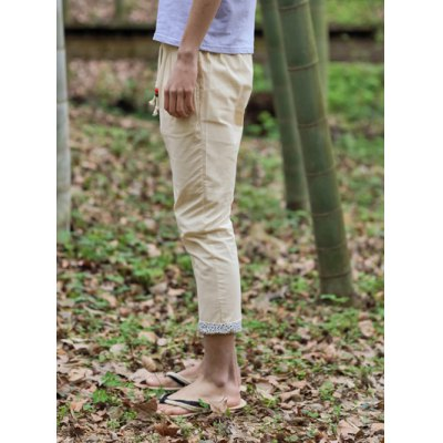 Гаджет   Loose Fit Trendy Lace-Up Tiny Floral Splicing Straight Leg Linen Nine Minutes of Pants For Men Pants