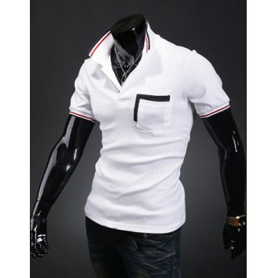 Summer Style Turn-down Collar Purfled Short Sleeves Polyester Polo Shirt For Men