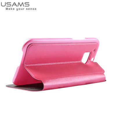 ФОТО USAMS Merry Series PU Leather and Plastic Material Case with View Window for HTC One 2 M8