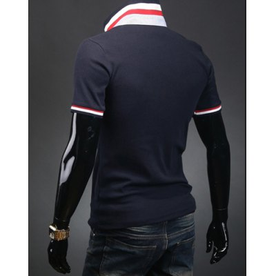 Casual Style Turn-down Collar Pocket Embellished Short Sleeves Polyester Polo Shirt For Men