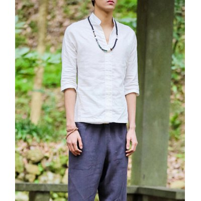 Гаджет   Stylish Stand Collar Loose Fit Solid Color 1/2 Length Sleeve Men