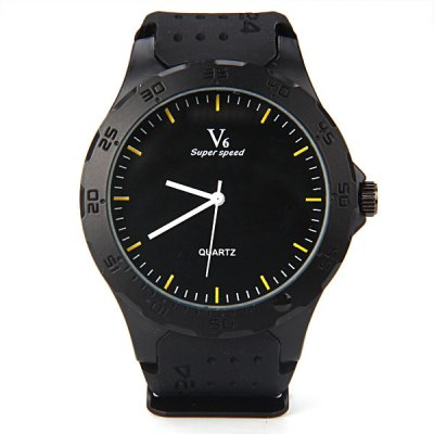 Гаджет   V6 Fashion Men Wrist Watch Analog Display with Round Dial Rubber Watch Band Men