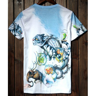 Гаджет   Fashion Round Neck 3D Cartoon Tiger and Elephant Print Short Sleeves Polyester T-shirt For Men T-Shirts
