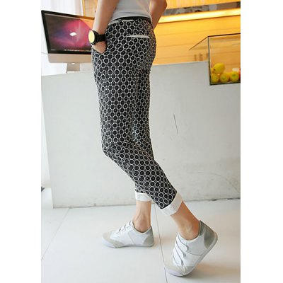Гаджет   Summer Style Slimming Full Circle Print Narrow Feet Cotton Nine Minutes Pants For Men Pants