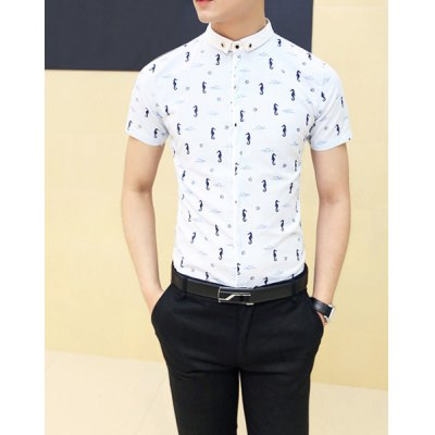 Гаджет   Casual Style Turn-down Collar Full Seahorse Print Short Sleeves Cotton Shirt For Men Shirts