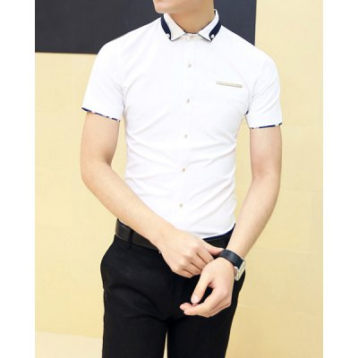 Гаджет   Casual Style Turn-down Collar Gold Purfled Short Sleeves Cotton Shirt For Men