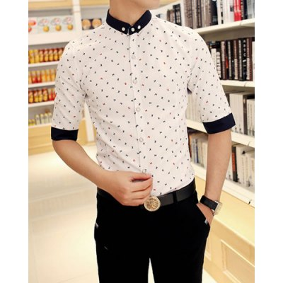 Гаджет   Stylish Button Down Collar Tiny Animals Print Half Sleeves Polyester Shirt For Men Shirts