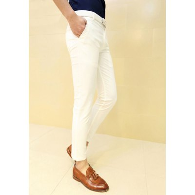 Гаджет   Casual Style Slimming Solid Color Button Embellished Narrow Feet Cotton Pants For Men Pants