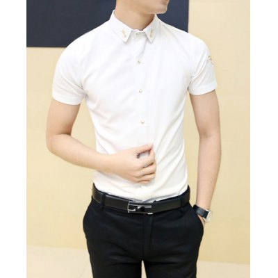 Гаджет   Fashion Style Turn-down Collar Irregular Design Print Short Sleeves Cotton Shirt For Men Shirts