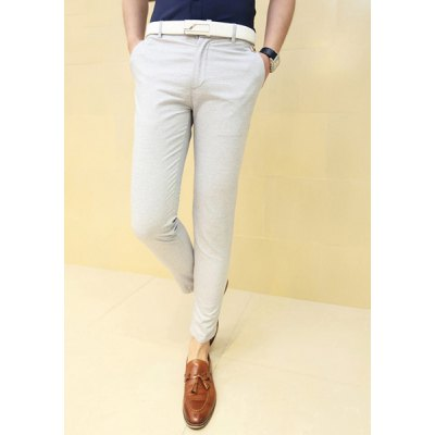 Гаджет   Fashionable Style Slimming Solid Color Narrow Feet Cotton Pants For Men