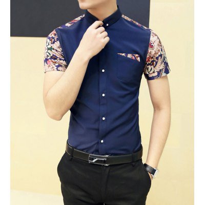 Гаджет   Fashion Style Turn-down Collar Floral Print Color Block Short Sleeves Cotton Shirt For Men