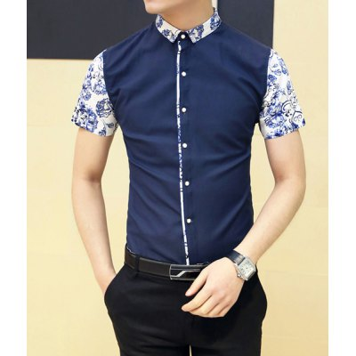 Гаджет   Fashion Style Turn-down Collar Floral Print Splicing Short Sleeves Cotton Shirt For Men Shirts
