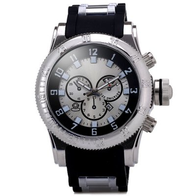 Cool Men Waterproof Watch Analog with Date Round Dial Soft Rubber Watch Band