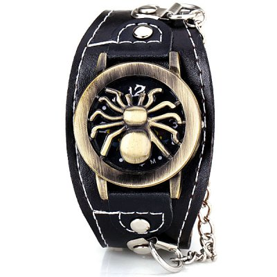 Гаджет   Cool Men Watch Analog Display with Flip Spider Round Dial Leather Watch Band Men
