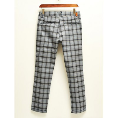 Гаджет   Casual Style Low Wasit Plaid Design Polyester Nine Minutes Pants For Men Pants