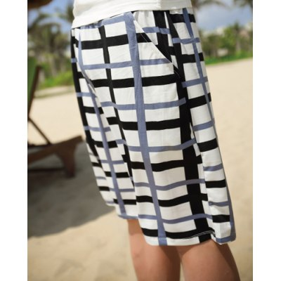 Casual Style Drawstring Design Color Block Plaid Polyester Shorts For Men