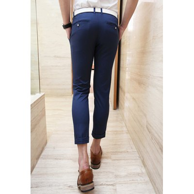 Гаджет   Slimming Trendy Pocket Button Design Solid Color Straight Leg Cotton Nine Minutes of Pants For Men Pants
