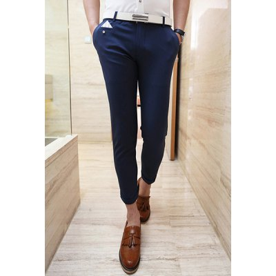 Slimming Trendy Pocket Button Design Solid Color Straight Leg Cotton Nine Minutes of Pants For Men