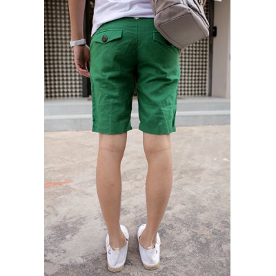 Casual Style Zipper Fly Solid Color Men's Linen Shorts