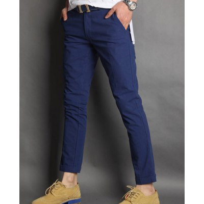 Гаджет   Slimming Trendy Simple Solid Color Button Design Straight Leg Cotton Nine Minutes of Pants For Men Pants