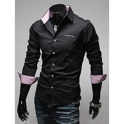 Casual Style Shirt Collar Chic Pocket Color Block Long Sleeves Men's Polyester Shirt