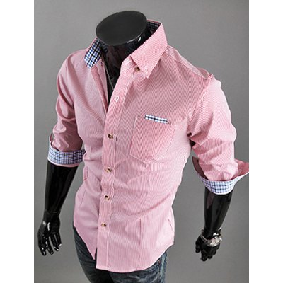 Casual Style Shirt Collar Plaid Splicing Half Sleeves Men's Polyester Stripes Shirt