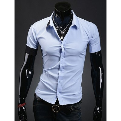 Гаджет   Casual Style Shirt Collar Color Block Cuff Slimming Short Sleeves Men