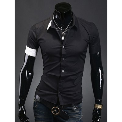 Casual Style Shirt Collar Colorful Cuff Slimming Short Sleeves Men's Polyester Shirt