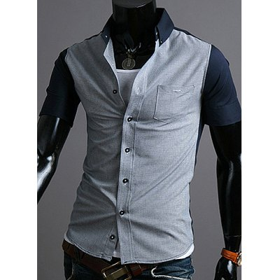 Casual Style Shirt Collar Color Splicing Slimming Short Sleeves Men's Polyester Shirt