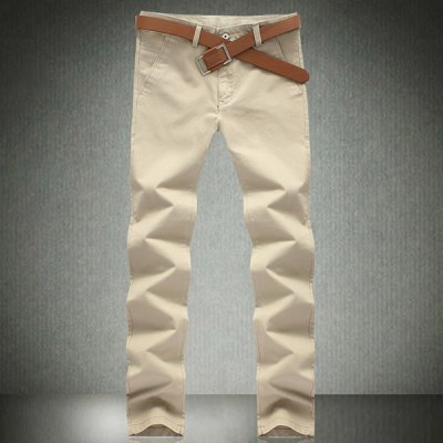 Гаджет   Casual Style Solid Color Slimming Pleated Narrow Feet Cotton Pants For Men